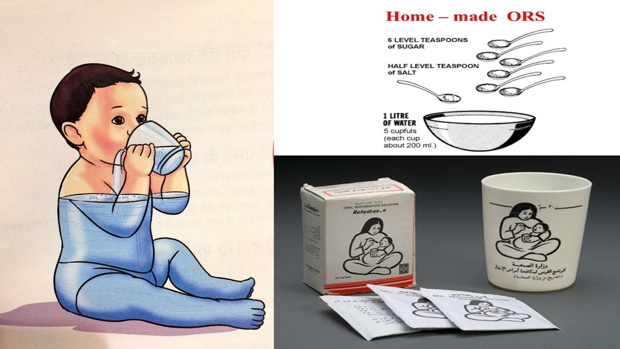 dessin montrant un bébé qui se réhydrate en buvant de l'eau. Le dessin est également accompagné d'un récapitulatif concernant le dosage eau, sel et sucre pour créer soit-même sa solution de réhydratation salée